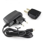 Micro USB 5V 1A EU AC Charger + EU to US Plug Adapter - Black