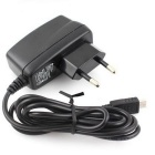 Micro USB 5V 1A EU AC lader + EU til US Plugs Adapter - Svart