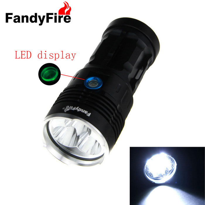 Lampe de poche FandyFire 5 LED w / Indicateur de batterie - Noir (4 * 18650)