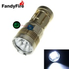FandyFire 5-LED Flashlight w/ Battery Indicator - Golden (4 * 18650)