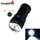 FandyFire 8-LED Flashlight w/ Battery Indicator - Black (4 * 18650)