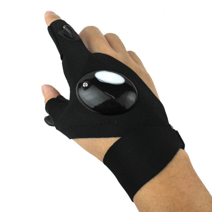 Outdoor Cycling LED Lighting 2-Finger Half Finger Glove - Black