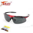 Panlees S866-2 Outdoor Sports Polarized Sunglasses - Red + Black