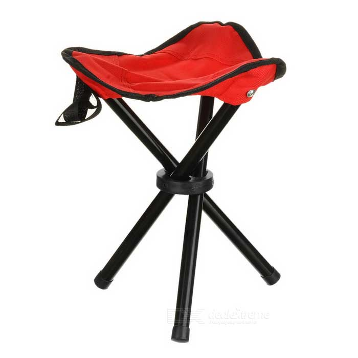 Outdoor Foldable Three-legged Stool for Fishing - Red + BlackForm  ColorRed + BlackQuantity1 DX.PCM.Model.AttributeModel.UnitMaterialOxford cloth + steelBest UseFamily &amp; car camping,Mountaineering,Travel,Cycling,Others,FishingTypeOthers,Outdoor foldable stoolCertificationCEPacking List1 x Stool<br>