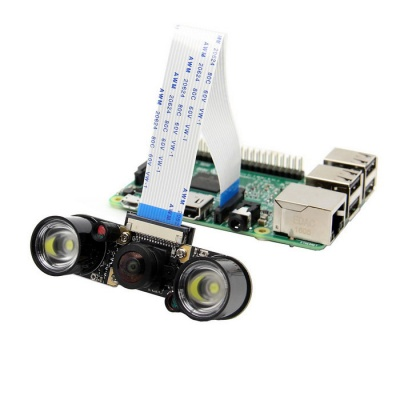 Wide-angle Camera Module + 2 Infrared IR LED Board for Raspberry Pi
