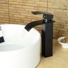 Modern Tall Oil-rubbed Bronze Waterfall Bathroom Sink Faucet - Black