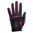 TOURLOGIC Women's Goat Skin + PU Golf Glove - Black + Dark Pink (M)
