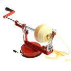 Stainless Steel Fruit Peeler Corer Slicer w/ Suction Base - Red