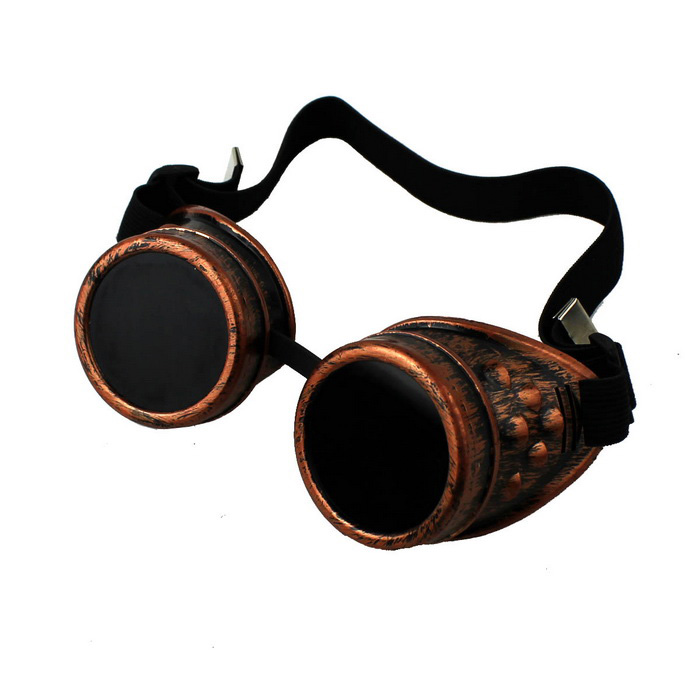 Steampunk revolution cosplay retro pilot brille - bronze + schwarz