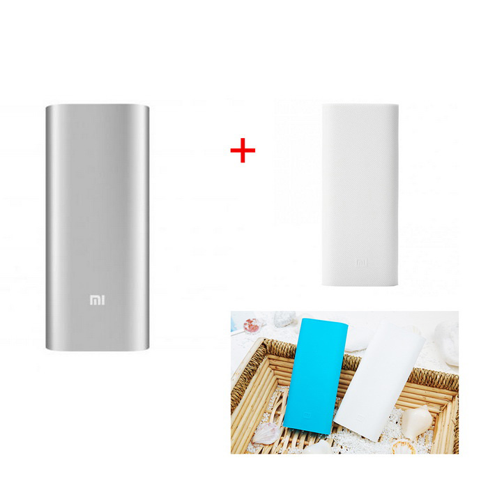 "Xiaomi 2-USB ""16000mAh"" Power Bank w/ Protective Case - Silver + White"