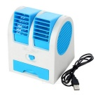 Mini USB Bladeless Cooling Desk Fan Air Conditioner - Blue + White