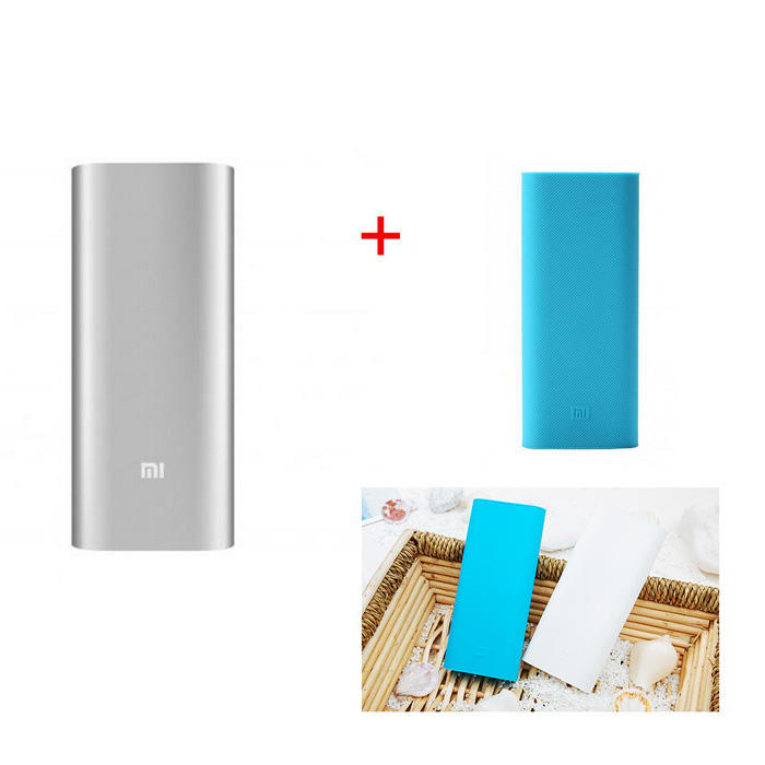 "Xiaomi 2-USB ""16000mAh"" Power Bank w/ Protective Case - Silver + Blue"