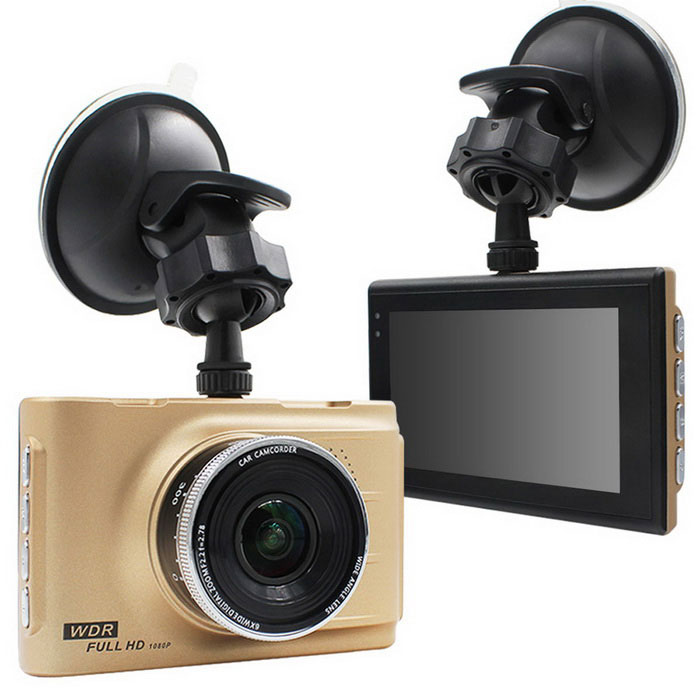 "3.0"" LCD Car DVR 5.0MP Dash Cam Camcorder - Golden"