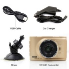 "3.0 ""LCD Car DVR 5.0MP Dash Cam videocámara - de oro"