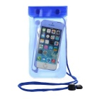 Waterproof Phone Bag w/ Earphone Cable, Lanyard, Touch Screen - Blue