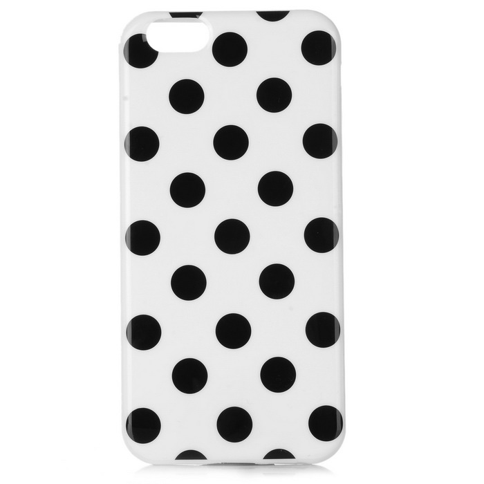 Dot Pattern Custodia posteriore TPU per IPHONE 6 / 6S - Nero + Bianco