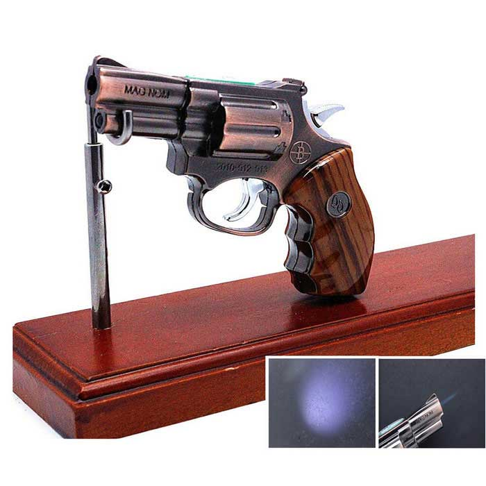 Revolver Style Multifunctional Butane Gas Lighter - Bronze + Brown