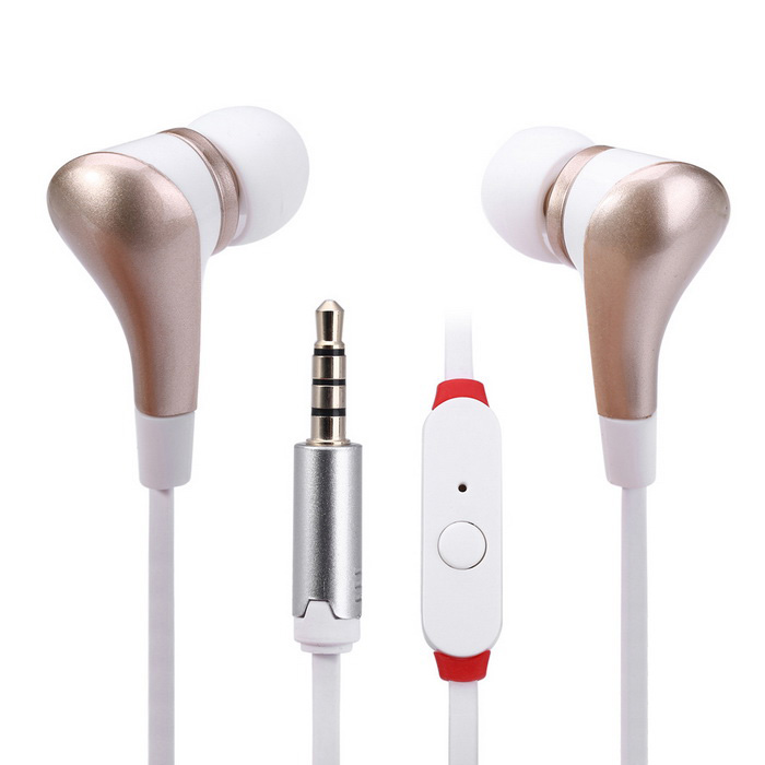 EF-E8 3.5mm In-Ear Stereo Earphones w/ Mic. Handsfree Call - Golden