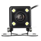 A04 Universal External Mini Wired 4-LED Car Rearview Camera - Black