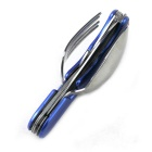 Stainless Steel Folding Knife Spoon Combination Tableware - Blue