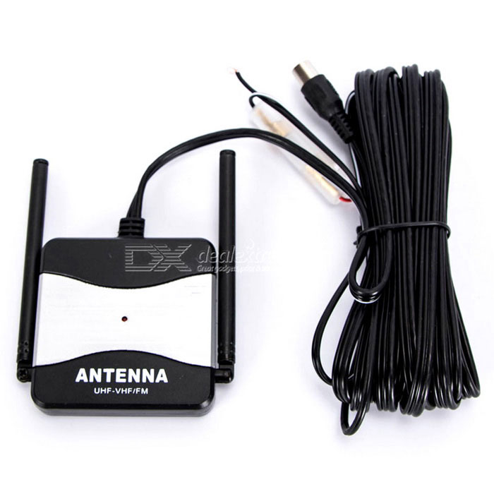 DC 12V Outdoor FM Radio/ TV Antenna Booster for Auto Car - Black