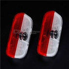 3W 500lm LED Car Door Welcome Light - Transparent + Red (9~36V / 2PCS)