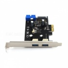 DIEWU PCI-E to USB 3.0 19/20 Pin Bus-Powered Extension Card - Black