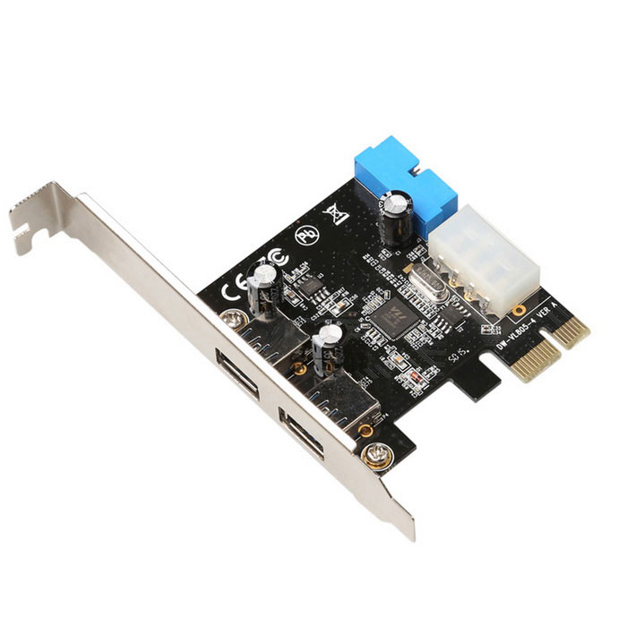DIEWU PCI-E to USB 3.0 19/20Pin Interface Extension Card - Black