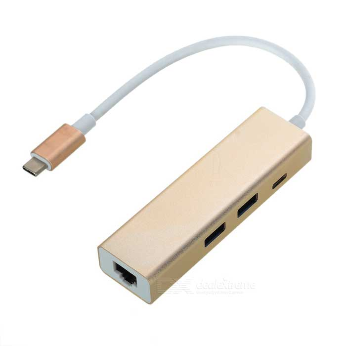 Type-C to 2-USB 3.0 + Power Port Gigabit Ethernet Adapter - Light Gold