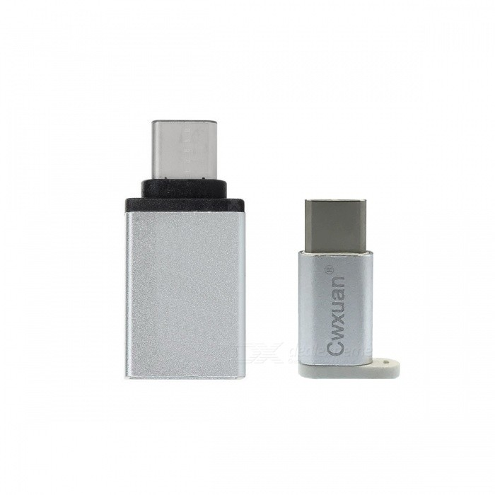 USB 3.1 Type C M to Micro USB / USB 3.0 F Adapter Kit - White + Silver