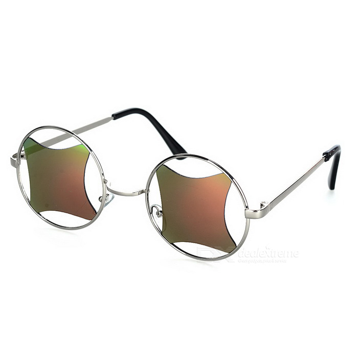 Retro Hollow-out UV400 Protection Sunglasses - Silver + Red