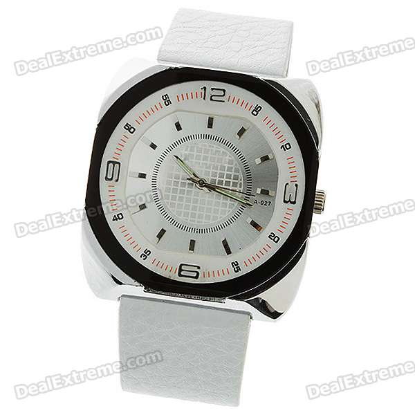 Stylish Leather Band Quartz Wrist Watch - White (1*377)