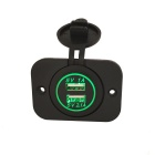 Eastor DIY 12-24V 1A 2.1A Dual USB Car Charger w/ Green LED, Panel