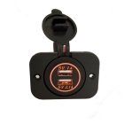 Eastor DIY 12-24V 1A 2.1A Dual USB Car Charger w/ Orange LED, Panel