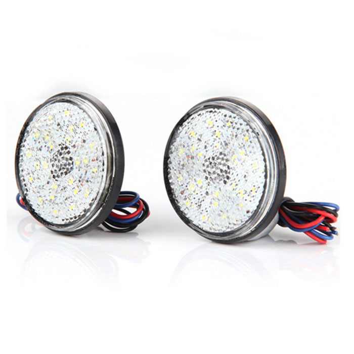 Qook Car Auto Vehicle White Round Brake Stop Tail Rear Light (2PCS)