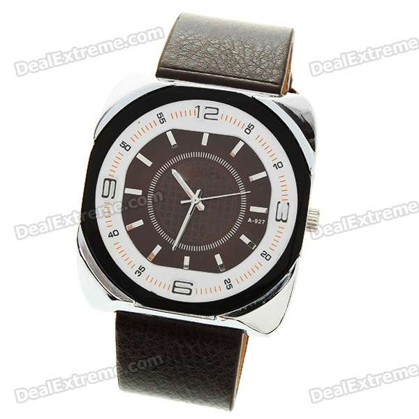 Stylish Leather Band Quartz Wrist Watch - Coffee (1*377)