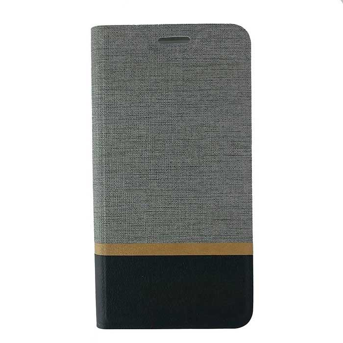 TPU + PU Leather Case for Samsung Galaxy S7 Edge - Black + Grey