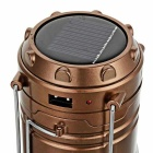 CTSmart Solar Power 6-LED White Light Tent Lamp / Flashlight - Brass