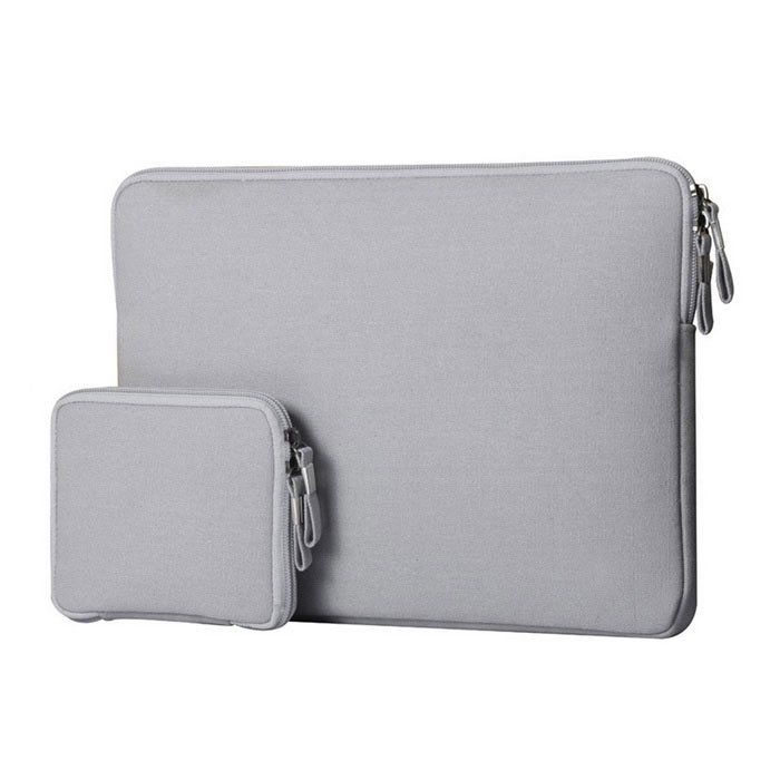 "Denim Laptop Inner Bag + Storage Bag for MacBook 12"" - Grey"