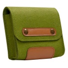 Retro Style Wool Felt Accessory Bag for Mouse / Power Cable - Green