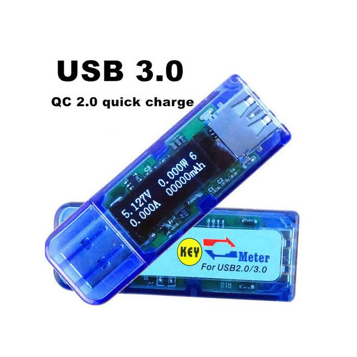"1"" OLED Mini USB 3.0 Voltmeter Ammeter - Transparent Blue"