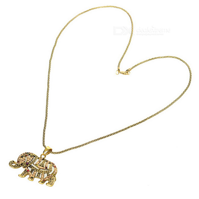 Women's Decorative Elephant Style Pendant Necklace - Brass