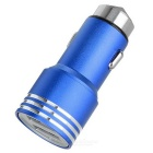 5V 2.4A 2-USB Car Charger / Metal Safety Hammer - Blue + Silver