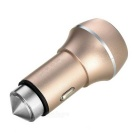 5V 3.6A 2-USB Car Charger / Metal Safety Hammer -  Champagne Gold