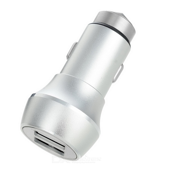5V 3.1A 2-USB Car Charger / Metal Safety Hammer - Silvery White