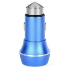 5V 3.1A 2-USB Car Charger / Metal Safety Hammer - Blue + Silver