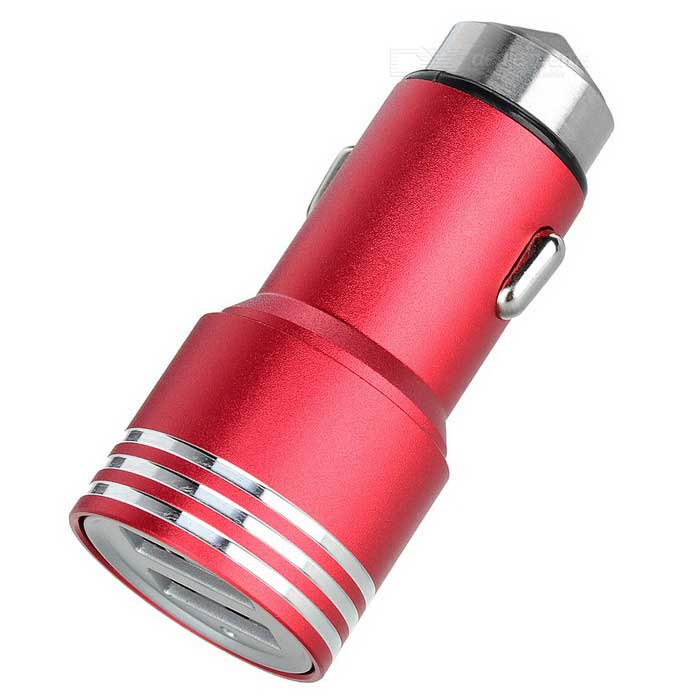 5V 2.4A 2-USB Car Charger / Metal Safety Hammer - Red + Silver