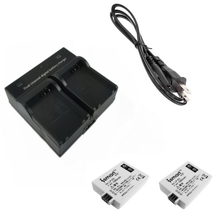 Ismartdigi Camera Battery + Dual Charger for Canon EOS 500D/1000D/450D