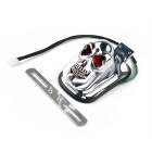 Qook Skull Style Warm White Tail Light for Harley Motorcycle - Silver