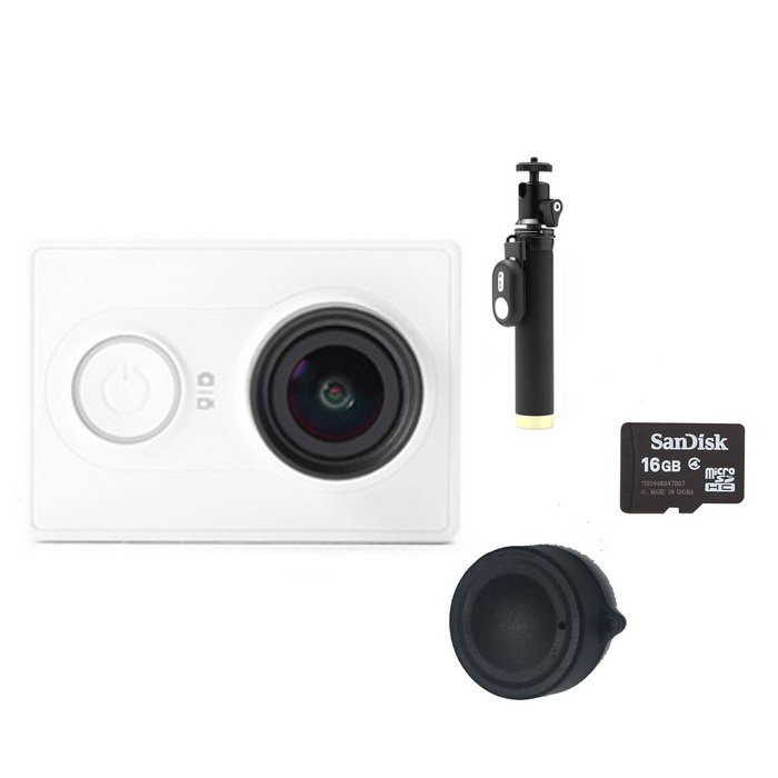 Xiaomi Xiaoyi Sports Camera + Monopod + Lens Cover + 16GB TF - WhiteSport Cameras<br>Form  ColorWhite (Yi monopod + 16GB TF)Shade Of ColorWhiteMaterialPC + ABSQuantity1 pieceImage SensorCMOSImage Sensor Size2/3 inchesAnti-ShakeYesFocal Distance2.73+/-5% mmFocusing RangeN/AApertureF2.8Wide Angle155 degreeEffective Pixels16MPImagesJPEGStill Image Resolution4608*3456VideoOthers,MP4Video Resolution4608*3456Video Frame RateOthers,1080P 60fps / 1080P 48fps/1080P 30fps/1080P 24fps/960P 60fps/960P 48fps/720P 120fps/720P 60fps/720P 48fps/480P 240fpsCycle RecordYesISONoExposure CompensationNoSupports Card TypeTFSupports Max. Capacity64 GBBuilt-in Memory / RAMNoOutput InterfaceMicro USBLCD ScreenNoBattery Measured Capacity 990 mAhNominal Capacity1020 mAhBattery TypeLi-ion batteryBattery included or notYesVoltage5 VBattery Charging Time3~4 hoursLow Battery AlertsYesWater ResistantOthers,40mSupported LanguagesSimplified ChineseOther FeaturesWi-Fi / Bluetooth 4.0Packing List1*Sport camera1*1020mAh battery 1*Charging cable (20cm)1*Chinese use manual1*Yi monopod (with Bluetooth remote)1*Lens cover1*16GB TF<br>